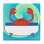 Crab in Tub (Blue Wave) Tile Coaster