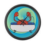 Crab in Tub (Blue Wave) Large Wall Clock