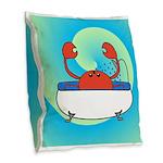 Crab in Tub (Blue Wave) Burlap Throw Pillow