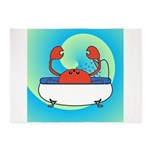 Crab in Tub (Blue Wave) 5'x7'Area Rug