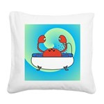 Crab in Tub (Blue Wave) Square Canvas Pillow