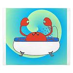 Crab in Tub (Blue Wave) King Duvet