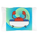 Crab in Tub (Blue Wave) Pillow Case