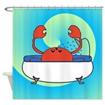 Crab in Tub (Blue Wave) Shower Curtain