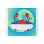 Crab in Tub (Blue Wave) Throw Blanket