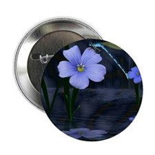 """Dragonflys and Lily 2.25"""" Button"""