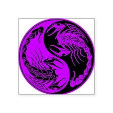 "Purple and Black Yin Yang S Square Sticker 3"" x 3"""
