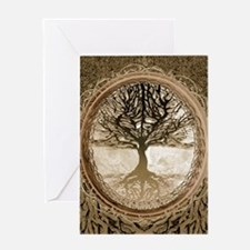 Tree of Life in Brown Greeting Cards