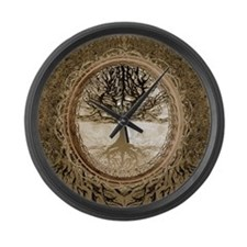 Tree of Life in Brown Large Wall Clock
