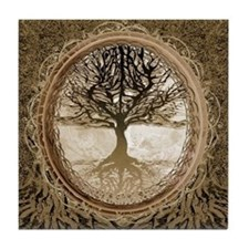 Tree of Life in Brown Tile Coaster