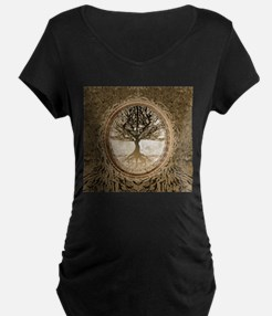 Tree of Life in Brown Maternity T-Shirt
