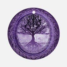 Tree of Life in Purple Ornament (Round)