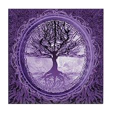 Tree of Life in Purple Tile Coaster