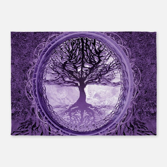 Tree of Life in Purple 5'x7'Area Rug