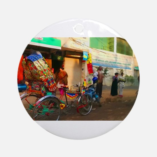 Bangladesh Rickshaw Ornament (Round)