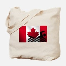 Swimming Canadian Flag Tote Bag