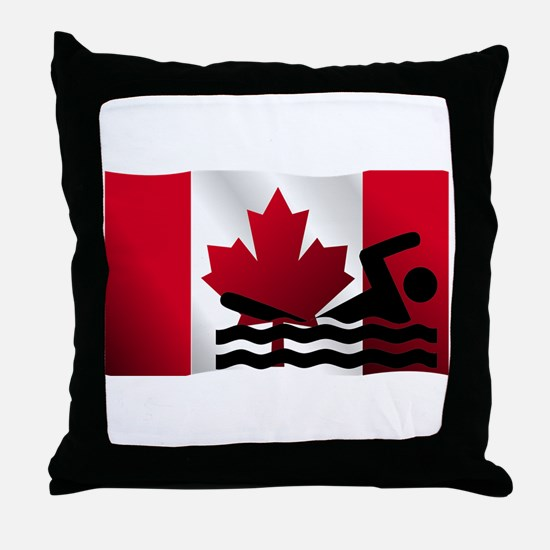 Swimming Canadian Flag Throw Pillow