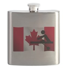 Rowing Canadian Flag Flask