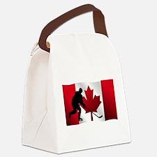 Hockey Canadian Flag Canvas Lunch Bag