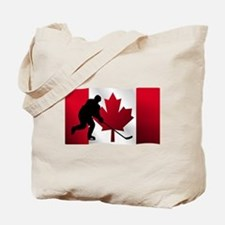 Hockey Canadian Flag Tote Bag