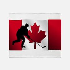 Hockey Canadian Flag Throw Blanket