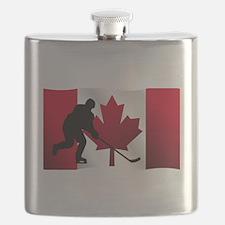 Hockey Canadian Flag Flask