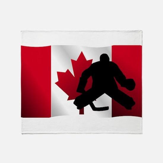 Hockey Goalie Canadian Flag Throw Blanket