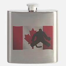 Hockey Goalie Canadian Flag Flask