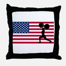 Weightlifting American Flag Throw Pillow