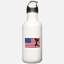 Weightlifting American Flag Sports Water Bottle