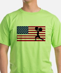 Weightlifting American Flag T-Shirt
