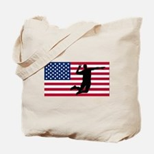 Volleyball Spike American Flag Tote Bag