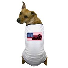 Swimming American Flag Dog T-Shirt