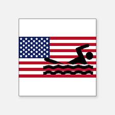 Swimming American Flag Sticker