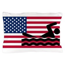 Swimming American Flag Pillow Case
