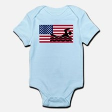 Swimming American Flag Body Suit