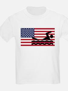 Swimming American Flag T-Shirt