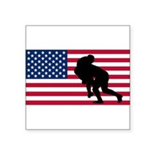 Rugby Tackle American Flag Sticker