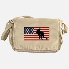 Rugby Tackle American Flag Messenger Bag