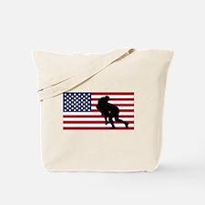 Rugby Tackle American Flag Tote Bag