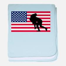 Rugby Tackle American Flag baby blanket