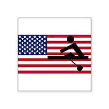 Rowing American Flag Sticker