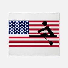 Rowing American Flag Throw Blanket