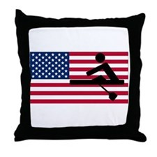 Rowing American Flag Throw Pillow