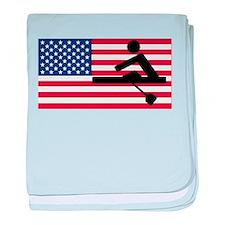 Rowing American Flag baby blanket