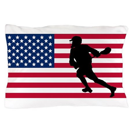 Lacrosse American Flag Pillow Case By Sportsflags