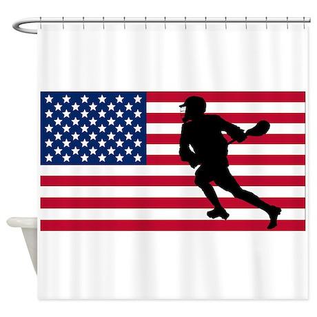 Lacrosse American Flag Shower Curtain