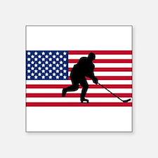 Hockey American Flag Sticker