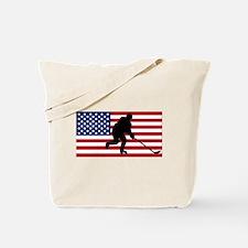 Hockey American Flag Tote Bag