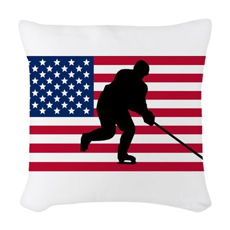 Hockey American Flag Woven Throw Pillow